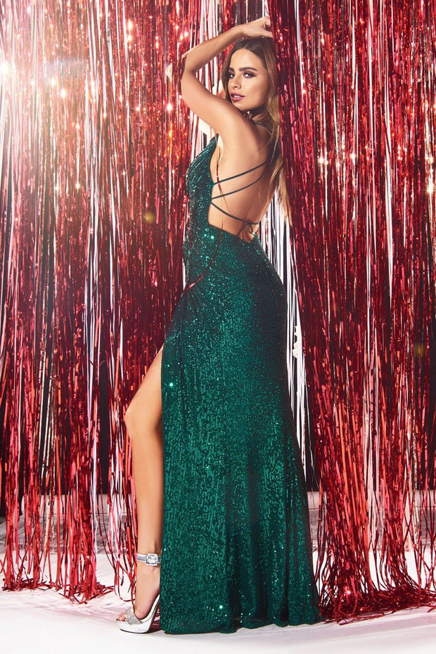 Fitted Long Sequin V-Neck Dress with Slit by Cinderella Divine CDS345
