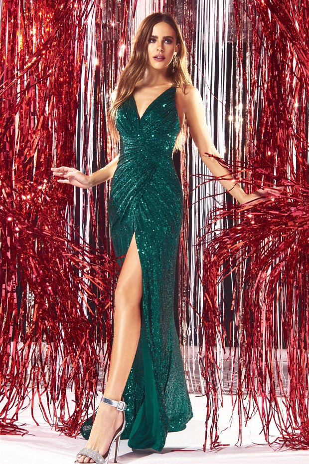 Fitted Long Sequin V-Neck Dress by Cinderella Divine CDS345