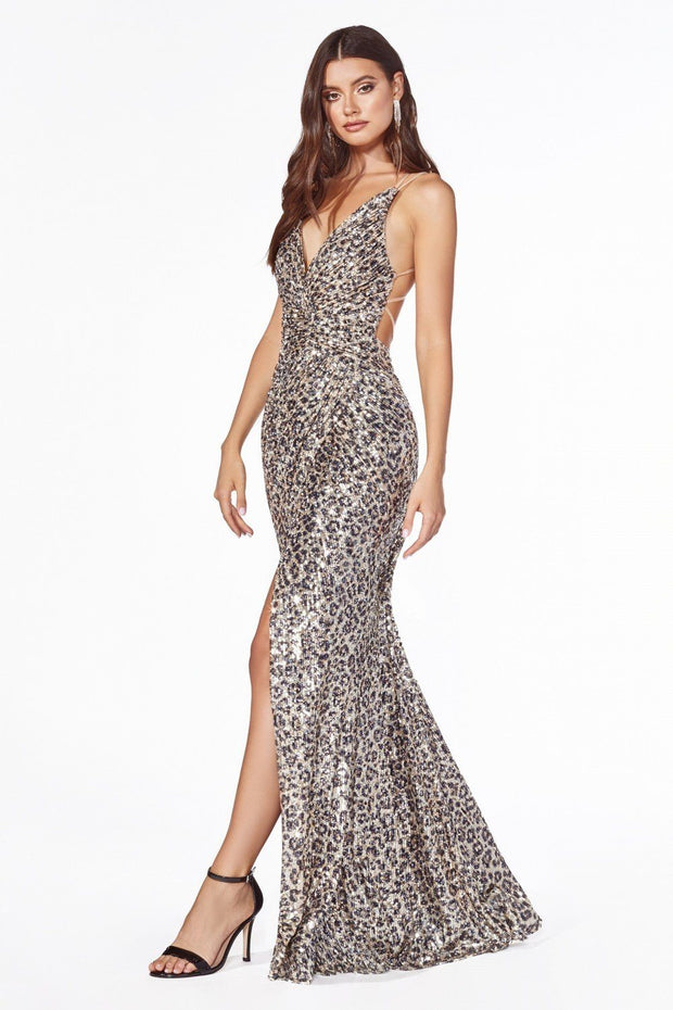 Fitted Long Sequin V-Neck Dress with Slit by Cinderella Divine CDS345-Long Formal Dresses-ABC Fashion