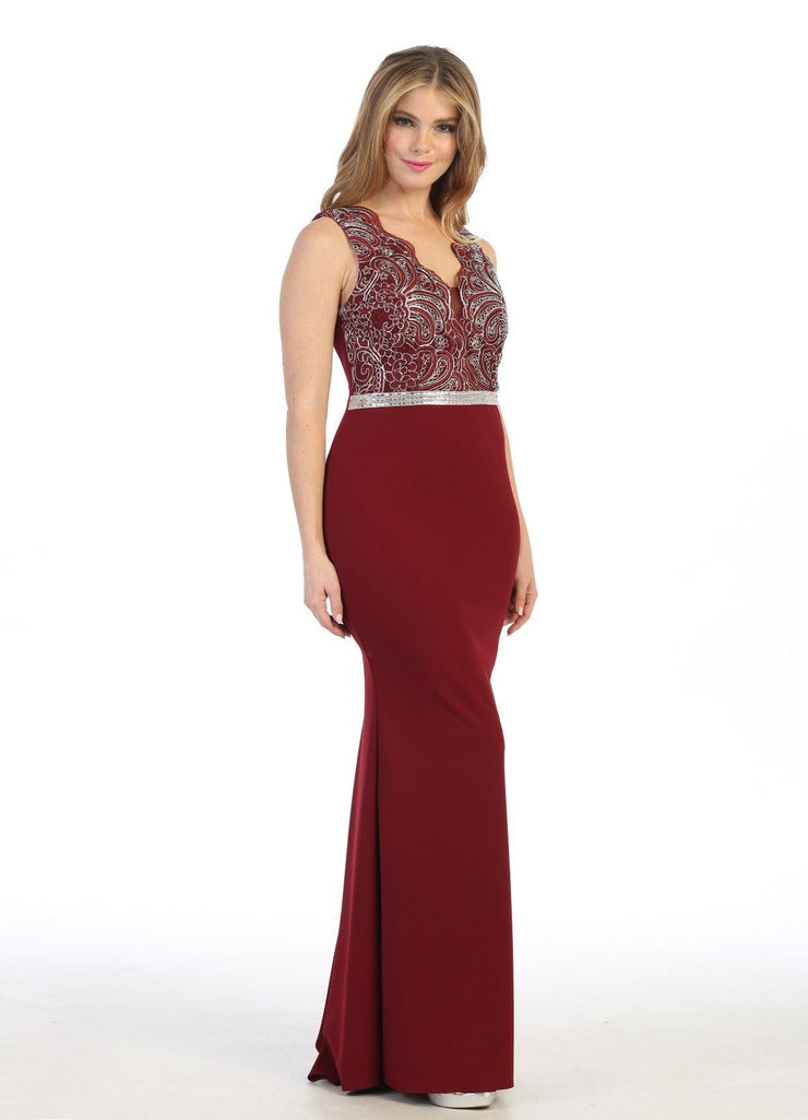 Fitted Long Sleeveless Dress with Embroidered Bodice by Celavie 6446