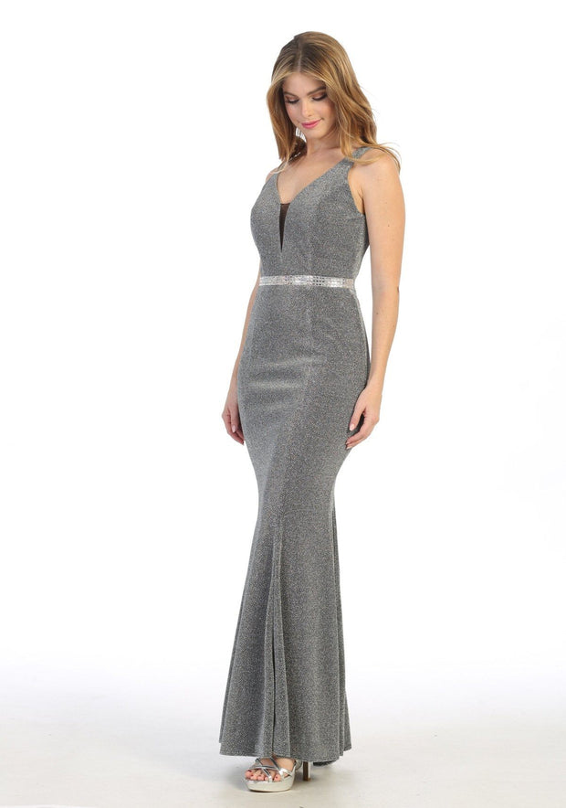 Fitted Long Sleeveless Metallic V-Neck Dress by Celavie 6483L