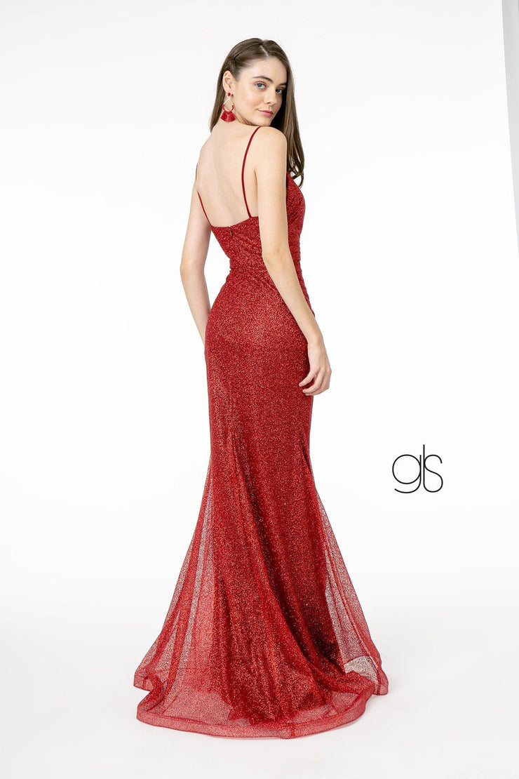 Fitted Long Sleeveless V-Neck Glitter Dress by Elizabeth K GL2988