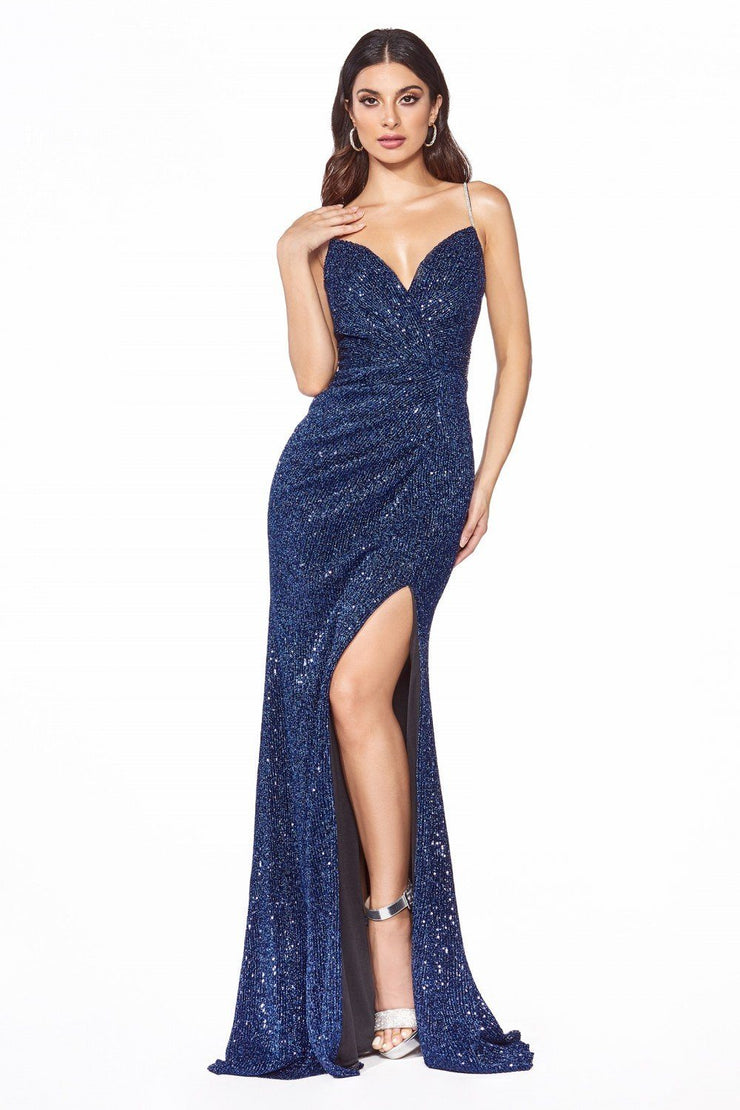 Fitted Long Sweetheart Sequin Dress by Cinderella Divine UV005