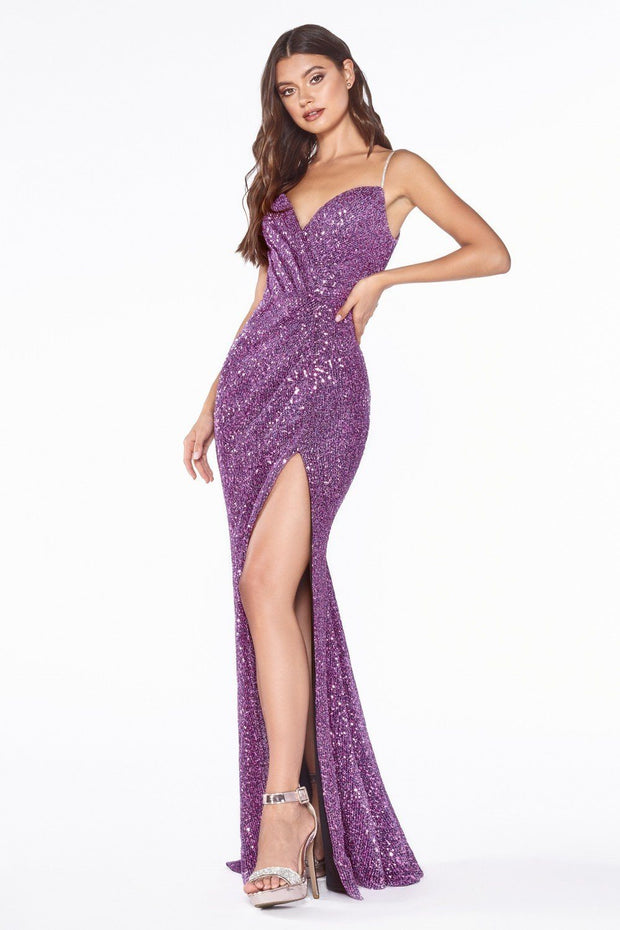 Fitted Long Sweetheart Sequin Dress by Cinderella Divine UV005-Long Formal Dresses-ABC Fashion