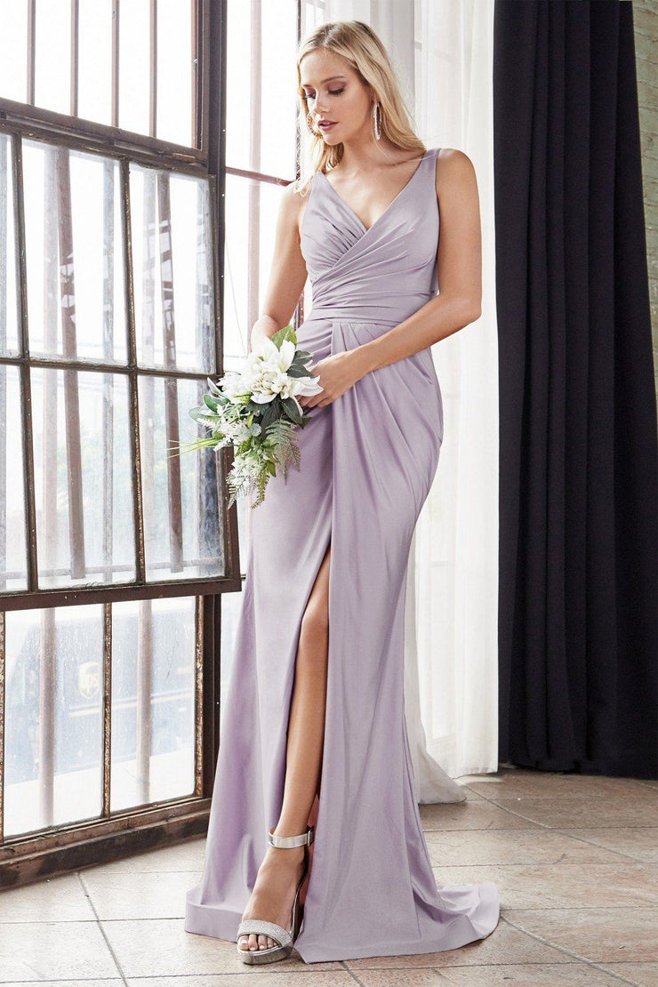 Fitted Long V-Neck Jersey Dress with Slit by Cinderella Divine C81730