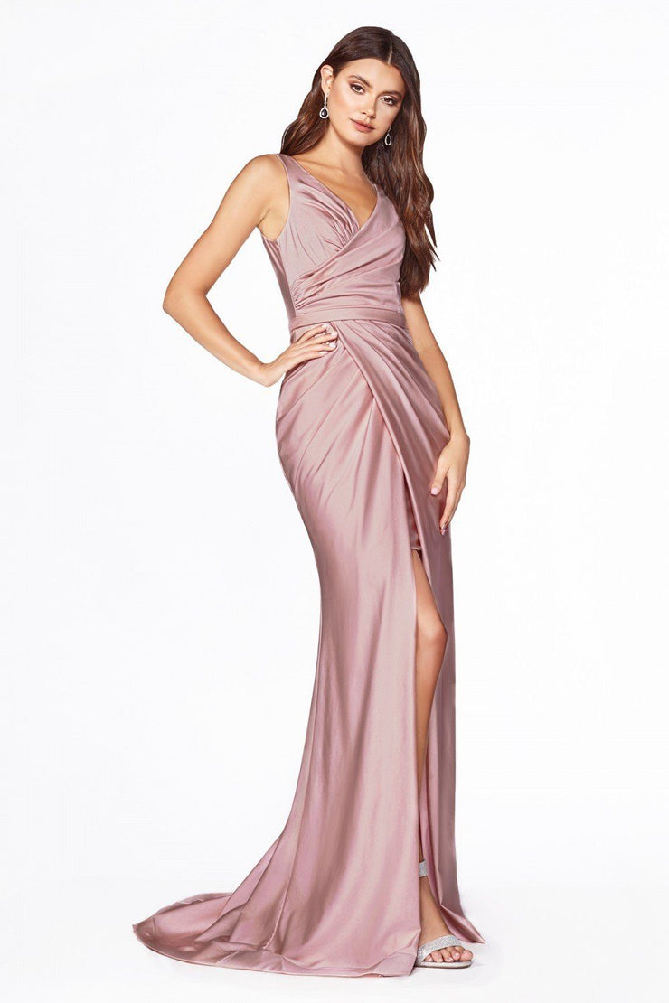Fitted Long V-Neck Jersey Dress with Slit by Cinderella Divine C81730-Long Formal Dresses-ABC Fashion