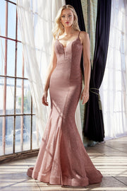 Fitted Metallic Gown with Corset Back by Cinderella Divine CB054