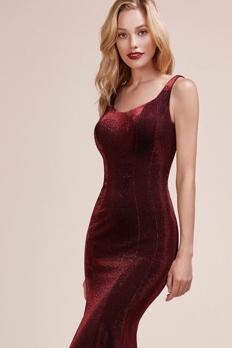 Fitted Metallic Knit Sleeveless Dress by Cinderella Divine A0634