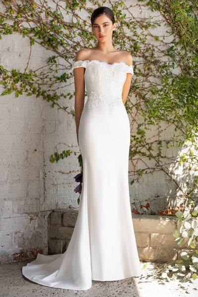 Fitted Off Shoulder Bridal Gown by Cinderella Divine CH238W