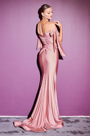 Fitted Off Shoulder Gown by Cinderella Divine CD943