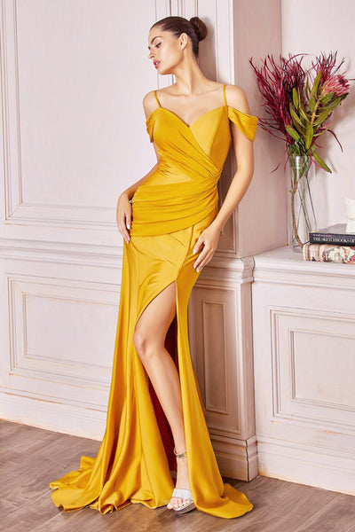 Fitted Off Shoulder Satin Gown by Cinderella Divine CD942