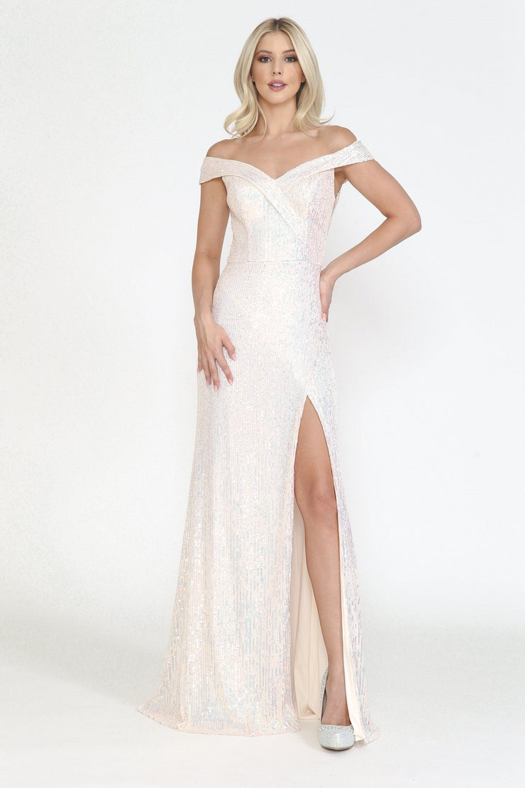 Fitted Off Shoulder Sequin Gown by Poly USA 8722
