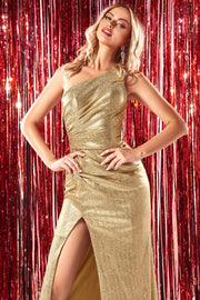 Fitted One Shoulder Metallic Gown by Cinderella Divine CH202