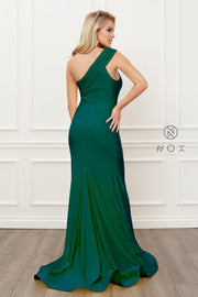 Fitted One Shoulder Slit Gown by Nox Anabel E440