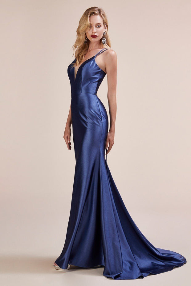 Fitted Satin Dress with Lace Up Back by Cinderella Divine A0632