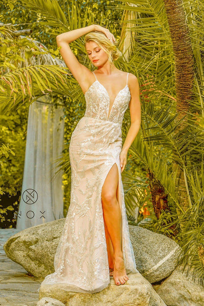 Fitted Sequin Applique Slit Gown by Nox Anabel E459