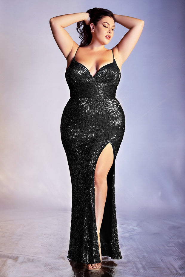 Fitted Sequin Gown by Cinderella Divine CH180
