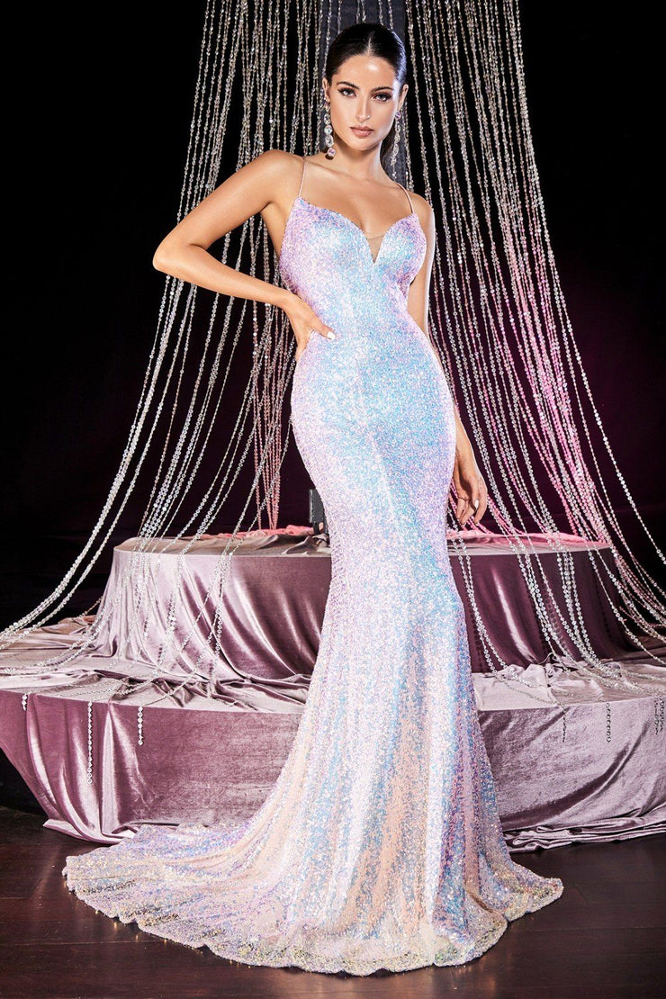 Fitted Sequin Gown with Corset Back by Cinderella Divine J787
