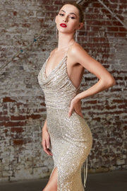 Fitted Sequin Gown with Cowl Neckline by Cinderella Divine CF199