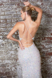 Fitted Sequin Gown with Lace Up Back by Cinderella Divine CR848