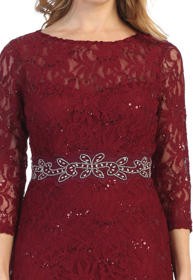 Fitted Sequin Lace Mermaid Dress with 3/4 Sleeves by Celavie 6432L