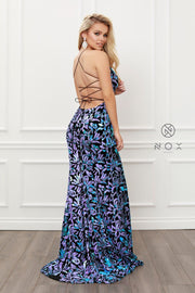 Fitted Sequin Print Velvet Gown by Nox Anabel R427