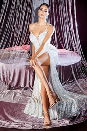 Fitted Sequin V-Neck Gown by Cinderella Divine CR848