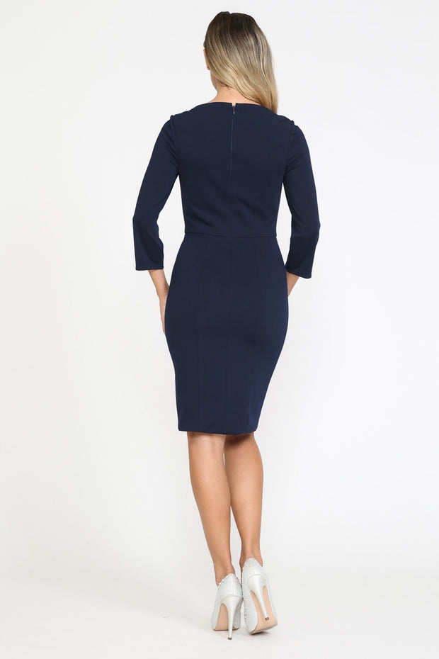 Fitted Short 3/4 Sleeve Dress by Poly USA 8526