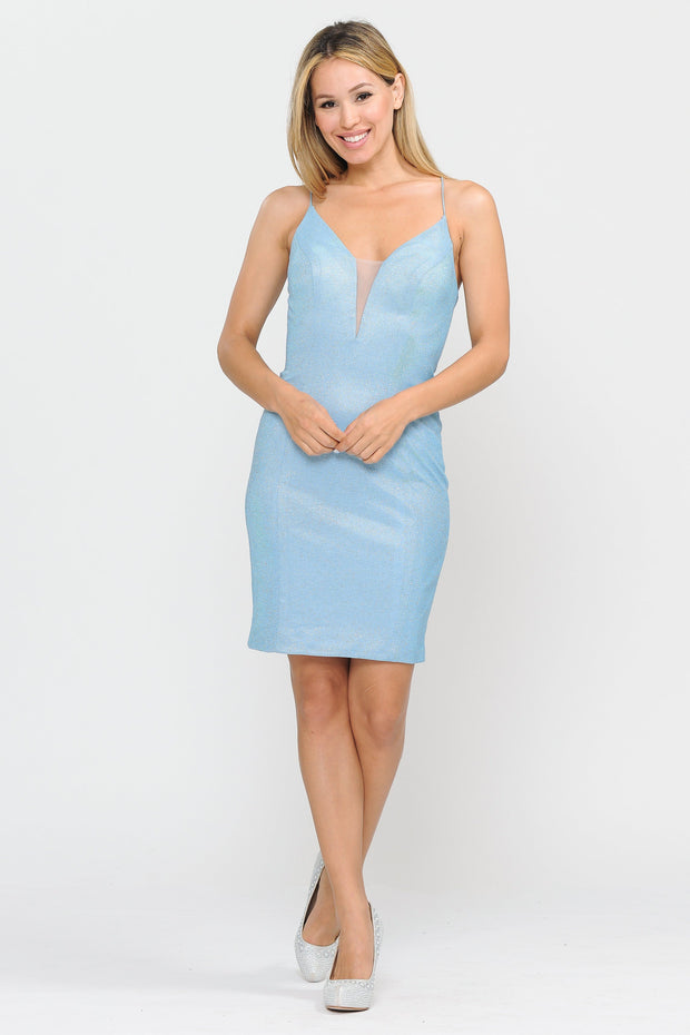Fitted Short Glitter Dress with Sheer V-Neckline by Poly USA 8514-Short Cocktail Dresses-ABC Fashion