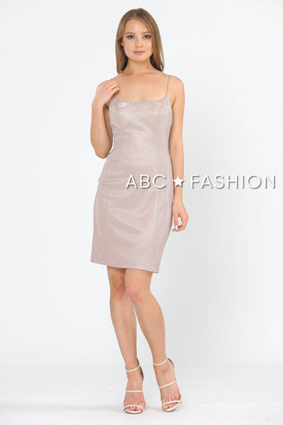 Fitted Short Metallic Glitter Dress by Poly USA 8390-Short Cocktail Dresses-ABC Fashion
