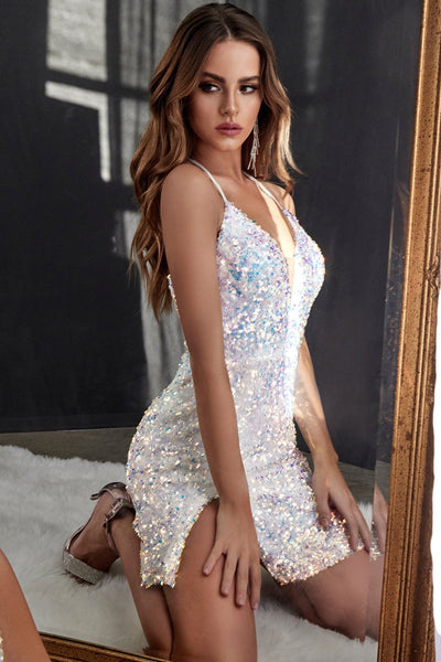 Fitted Short Sequin Dress by Cinderella Divine CD209S