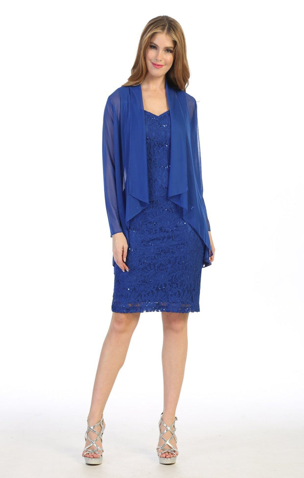 Fitted Short Sequin Lace Dress with Cardigan by Celavie 6431