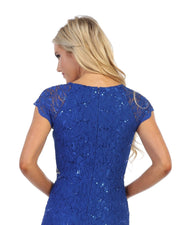 Fitted Short Sequin Lace Dress with Short Sleeves by Celavie 6372S