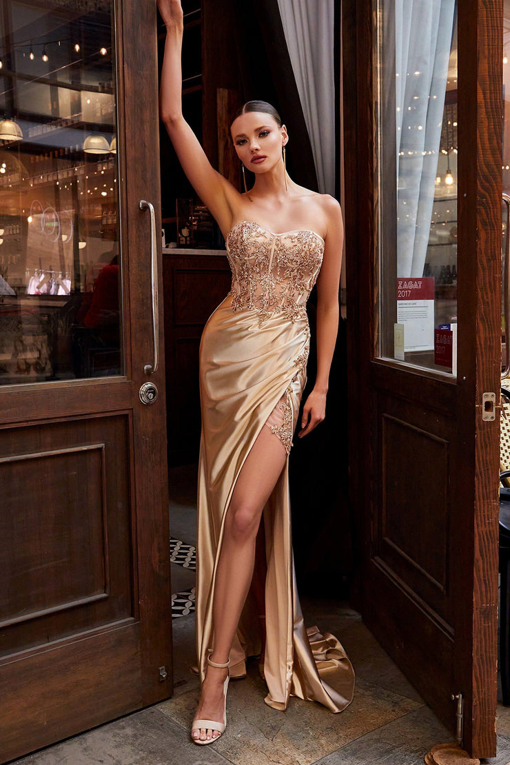 Fitted Strapless Satin Gown by Cinderella Divine CDS406