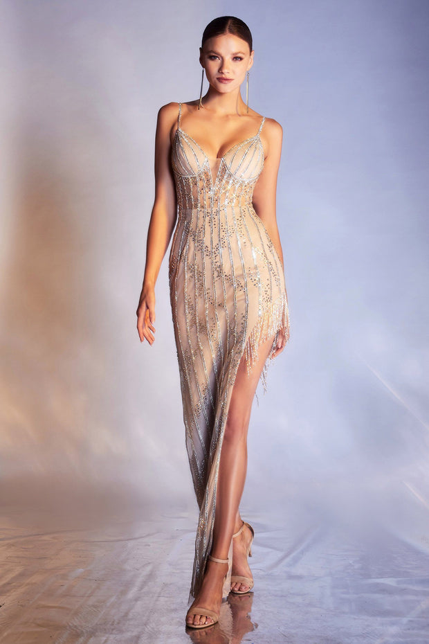 Flapper Beaded Fringe Gown by Cinderella Divine CR860