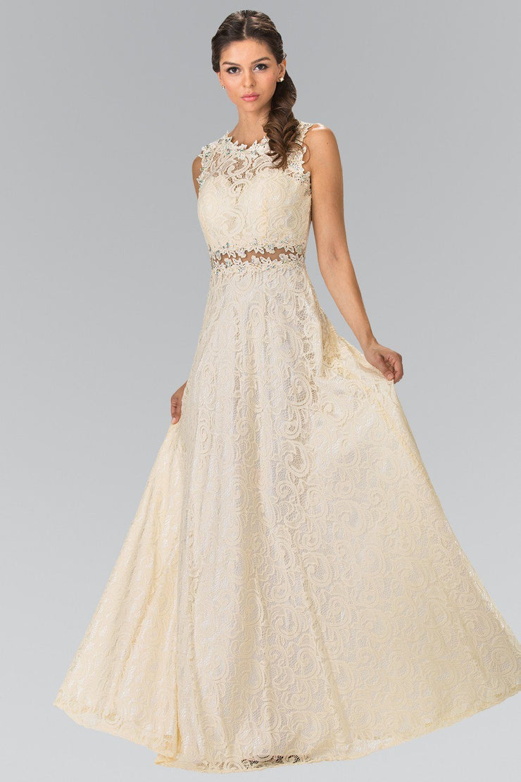 Floor Length Sleeveless Beaded Lace Dress by Elizabeth K GL1460-Long Formal Dresses-ABC Fashion
