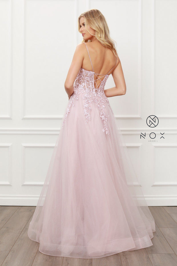 Flora Applique Tulle Gown by Nox Anabel T449