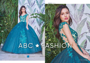 Floral Applique Cap Sleeve Quinceanera Dress by Forever Quince FQ813-Quinceanera Dresses-ABC Fashion