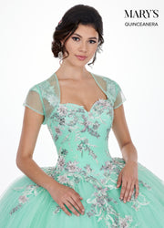 Floral Applique Cap Sleeve Quinceanera Dress by Mary's Bridal MQ2067-Quinceanera Dresses-ABC Fashion