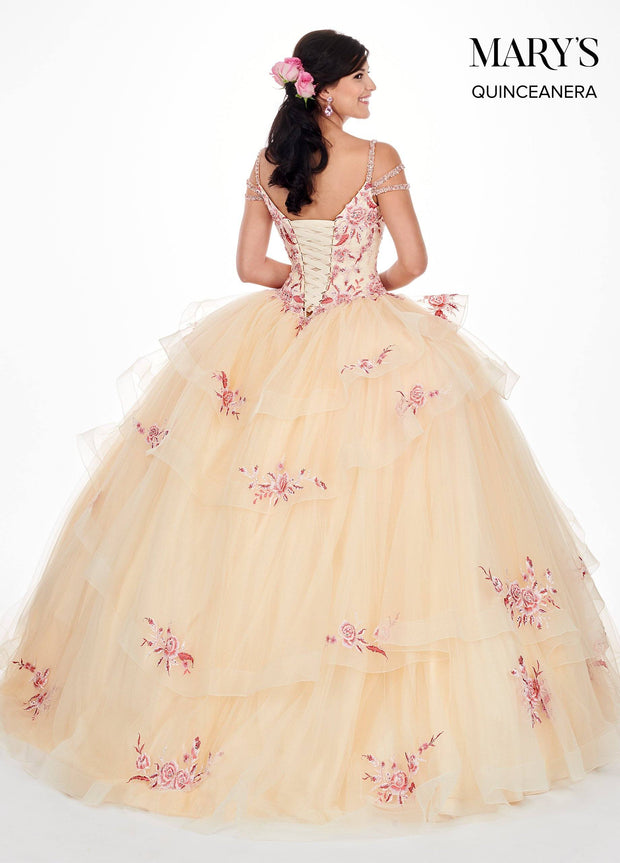 Floral Applique Cold Shoulder Quinceanera Dress by Mary's Bridal MQ2059-Quinceanera Dresses-ABC Fashion