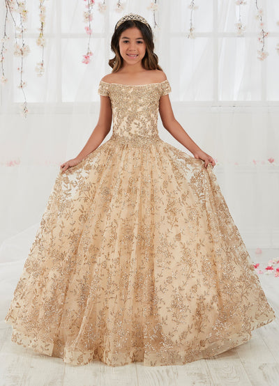 Floral Applique Girls Long Off the Shoulder Dress by Tiffany Princess 13557-Girls Formal Dresses-ABC Fashion