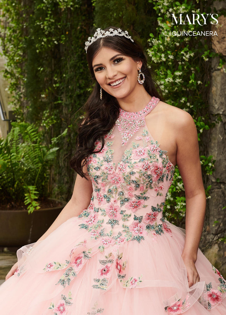 Floral Applique Halter Quinceanera Dress by Mary's Bridal MQ1046-Quinceanera Dresses-ABC Fashion