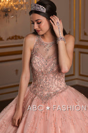 Floral Applique Illusion Quinceanera Dress by House of Wu 26935-Quinceanera Dresses-ABC Fashion