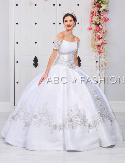 Floral Applique Off Shoulder Quinceanera Dress by LA Glitter 24056-Quinceanera Dresses-ABC Fashion