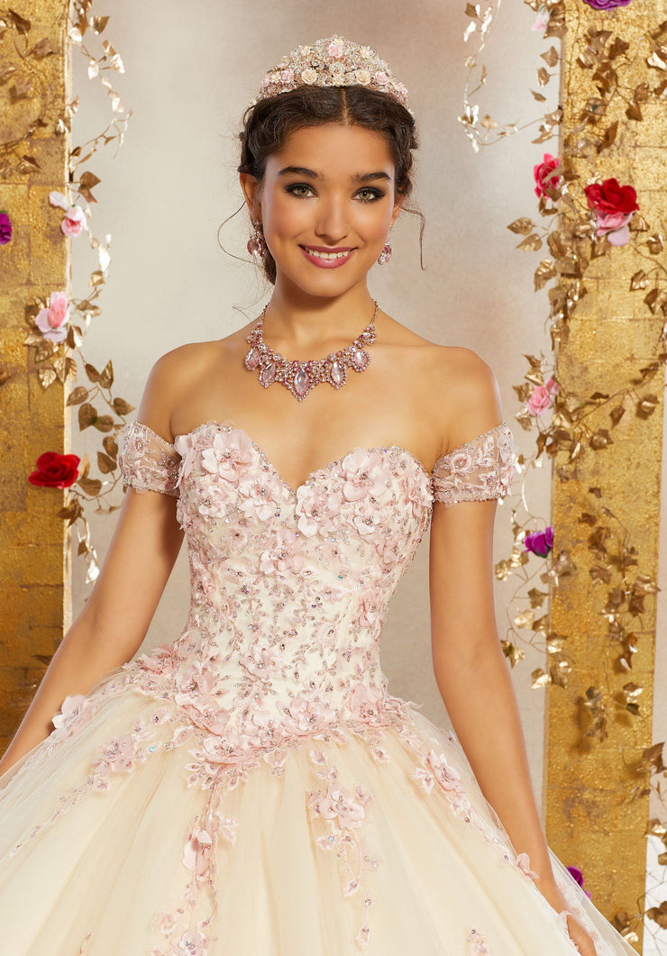 Floral Applique Quinceanera Dress by Mori Lee Valencia 60071-Quinceanera Dresses-ABC Fashion