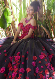 Floral Applique Quinceanera Dress by Mori Lee Valentina 34015-Quinceanera Dresses-ABC Fashion
