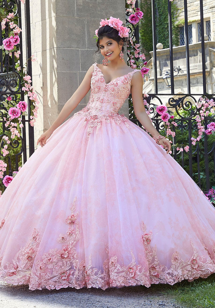 Floral Applique Quinceanera Dress by Mori Lee Valentina 34022-Quinceanera Dresses-ABC Fashion
