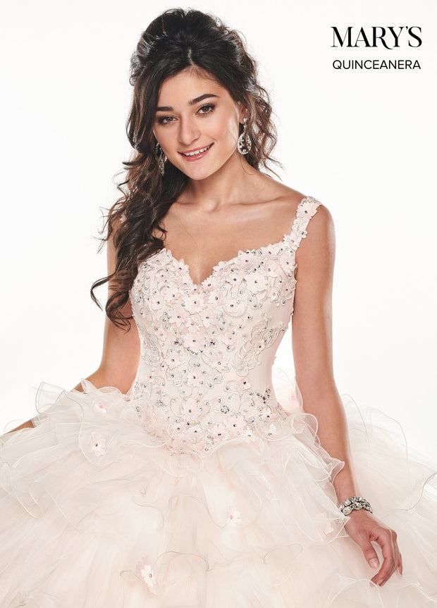 Floral Applique Ruffled Quinceanera Dress by Mary's Bridal MQ2071-Quinceanera Dresses-ABC Fashion