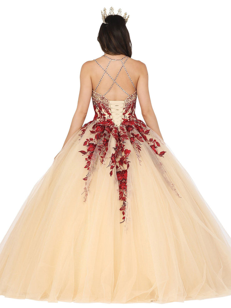 Floral Applique Sleeveless Ball Gown by Dancing Queen 1481