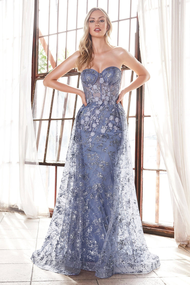 Floral Applique Strapless Fitted Gown by Cinderella Divine CB046
